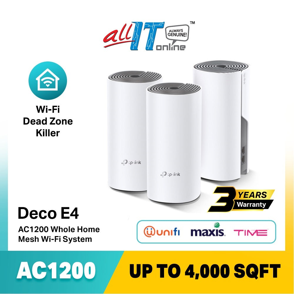 TP-Link Deco E4 AC1200 Whole Home Mesh Wi-Fi System Repeater (2-Pack / 3-Pack)