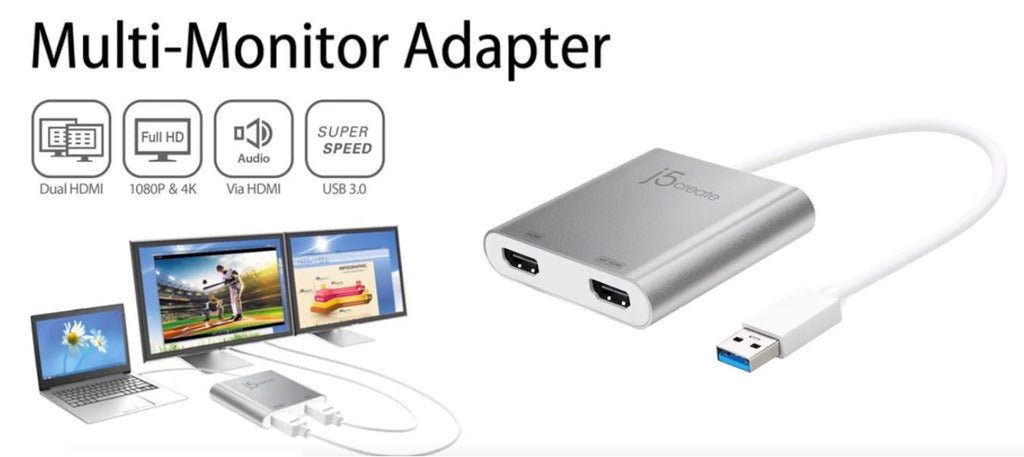 J5Create USB 3.0 to Dual HDMI 4K Multi Monitor Converter JUA365