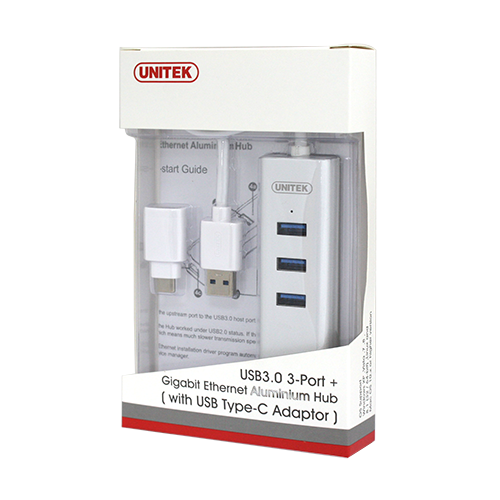 Unitek 3-Port USB3.0 Hub with Gigabit Ethernet & Type-C Connector (Y-3083B)