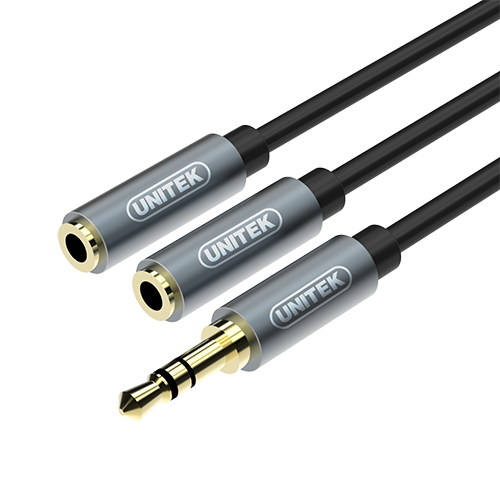Unitek 3.5MM(M) TO 2 x 3.5MM(F) AUDIO CABLE - 0.2M (Y-C956ABK)