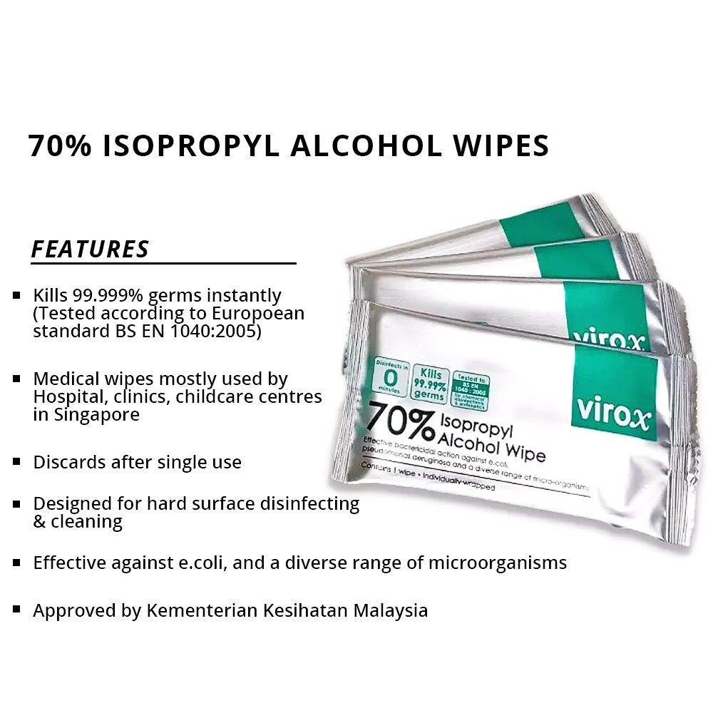 Discounted VIROX 70% Isopropyl Alcohol Medical Wipes (Loose Pack)
