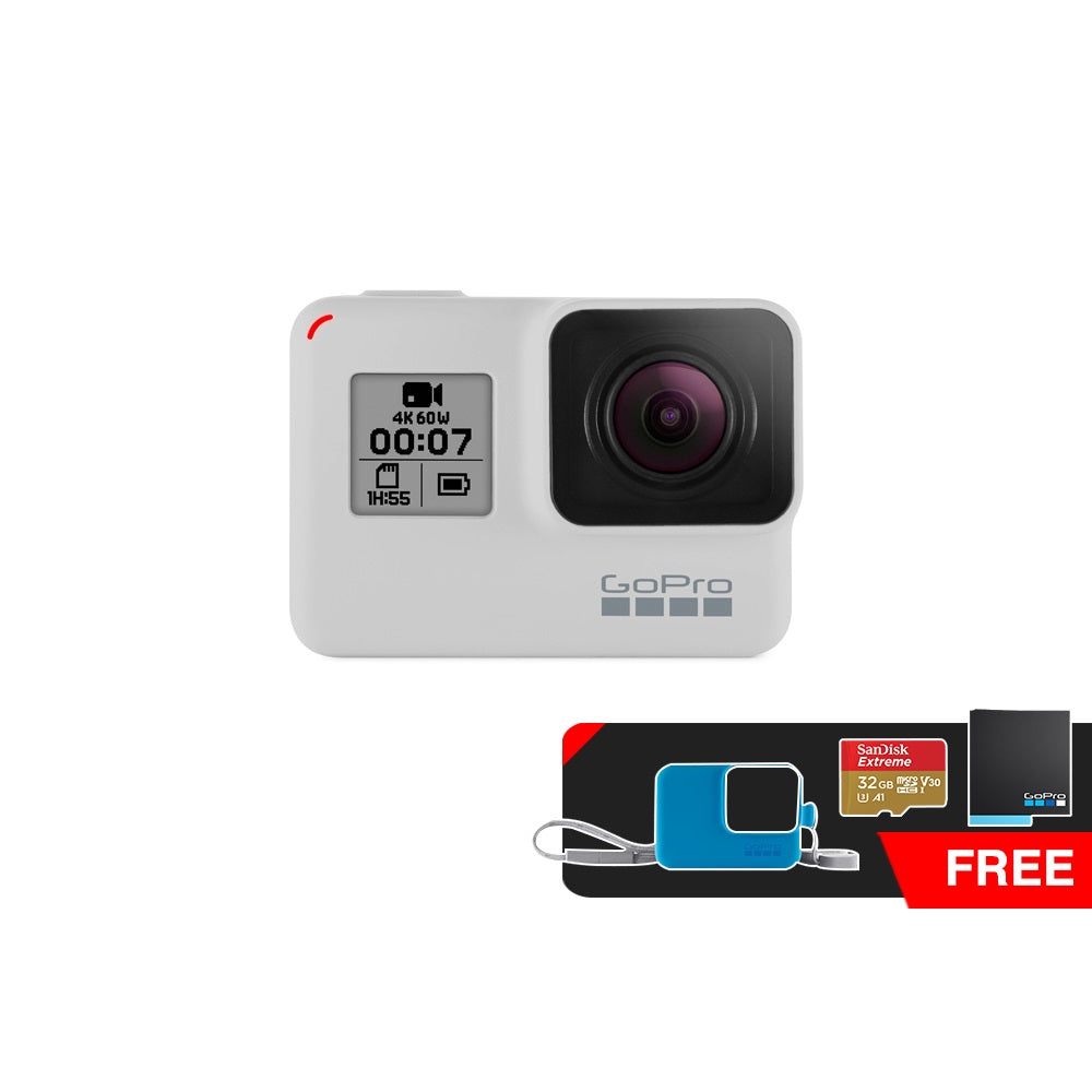 GoPro Hero 7 Black Dusk White Action Camera Limited Edition (Free Battery + 32GB Memory Card + GoPro Sleeve+Lanyard)