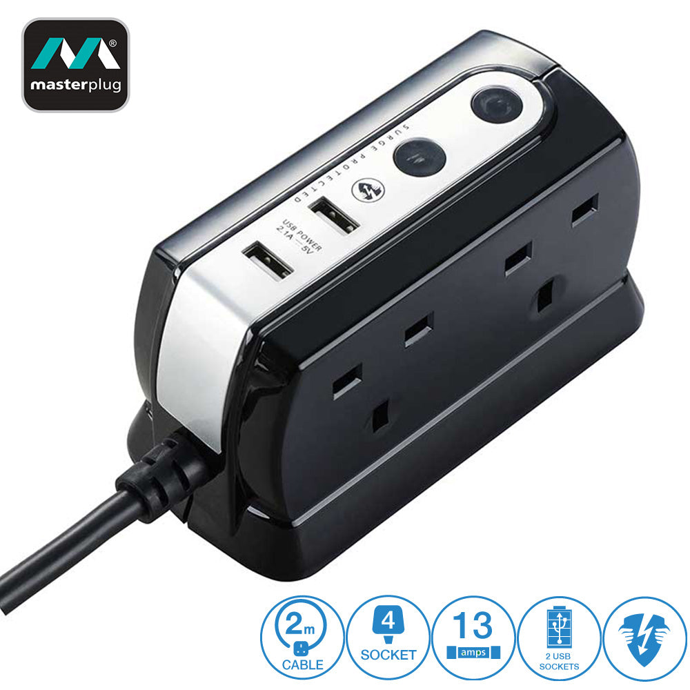 MasterPlug 4 Gang 2 2.1 USB 2 meter Extension Leads Glossy Black Surge Protector (Black SRGDU42PB2-MY / White SRGDU42PW2-MY)