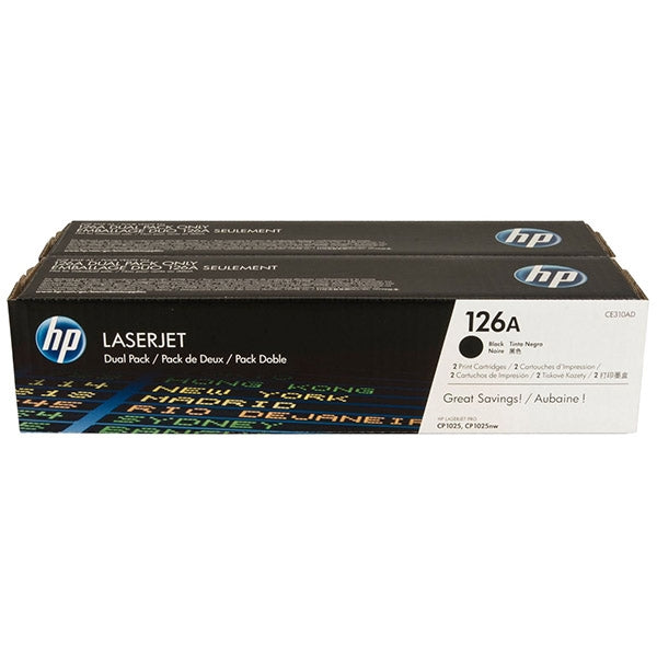 HP CP1025/M175a (CE310AD) Dual Pack LaserJet Toner Cartridges - Black