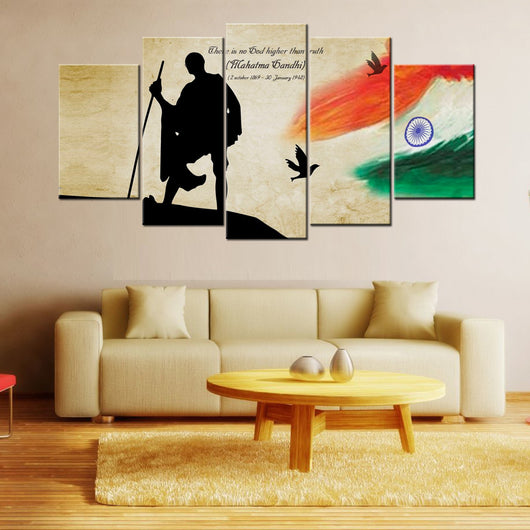 gandhi and india flag 5 piece canvas wallart - hd quality – gifts corner