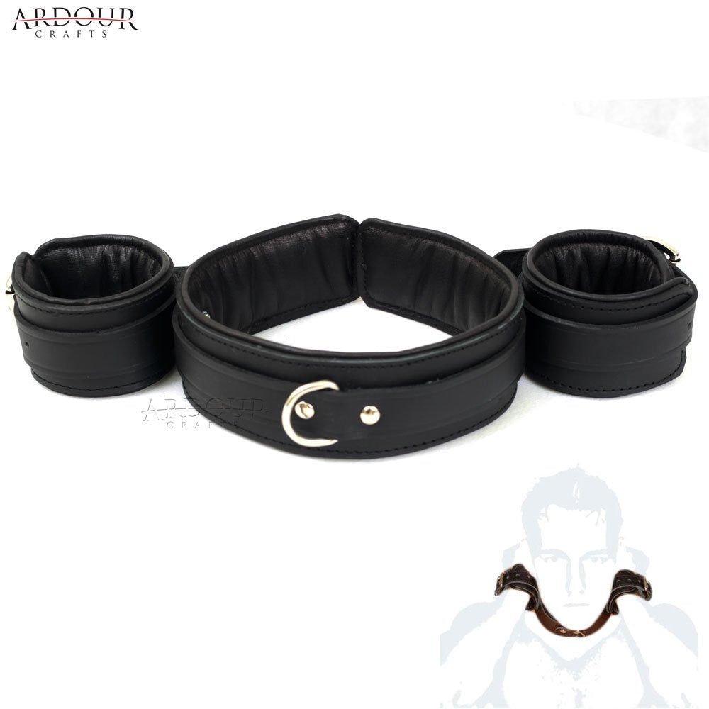 100% Genuine Leather Padded Wrist To Neck Restraint Slave BDSM
