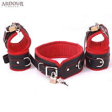 Natural Cow Hide Leather Wrist, Ankle Cuffs and Neck Collar Set 5 Pieces Padded Cuffs Real & Authentic Leather Red & Black