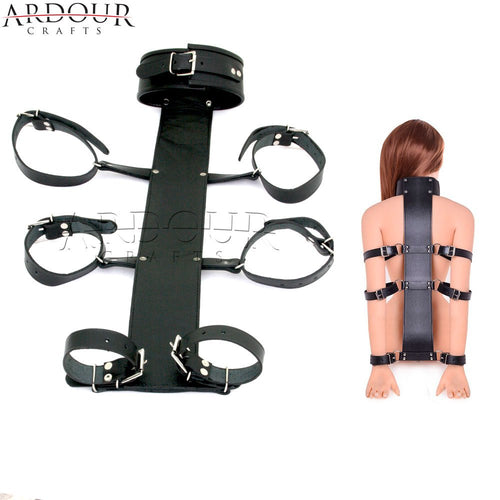 100% Genuine Leather Neck Collar TO Wrist Cuffs Arms Bed Restraint Back Slave BDSM
