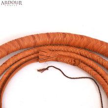 Cow Hide Leather Bull Whip 6 Feet Long 12 Plait Tan Bullwhip Loud Crack and Heavy Duty