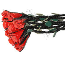 Leather Red Rose Flogger 09 Tails