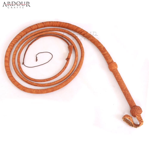 08 Feet Long Bull Whip Cow Hide Tan Leather 12 Braids Bull Whip Loud Crack