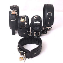 Natural Cow Hide Leather Wrist, Ankle & Thigh Cuffs and Neck Collar Set 7 Pieces Padded Cuffs Real & Authentic Leather Black
