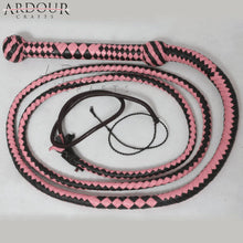 Cow Hide Leather 08 Feet Long 12 Plait Weaving Bull Whip Pink & Black Durable Item Equestrian