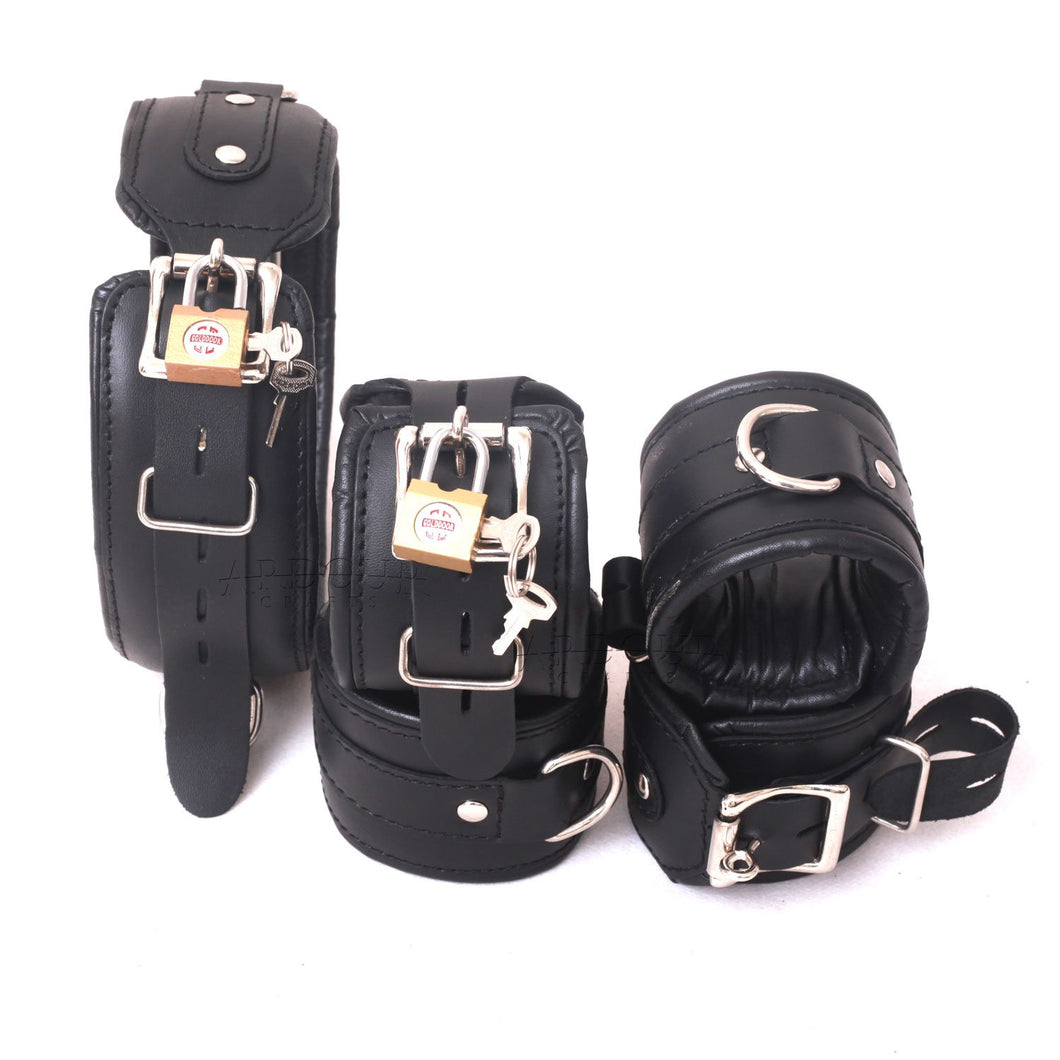 Natural Cow Hide Leather Wrist, Ankle Cuffs and Neck Collar Set 5 Pieces Padded Cuffs Real & Authentic Leather Black
