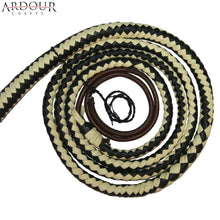 Genuine Real Leather 08 Feet Long 12 Plait Weaving Bull Whip Black & Off White