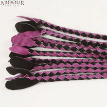Purple & Black Cow Hide Suede Leather Braided Flogger Cat O Nine Tails whip