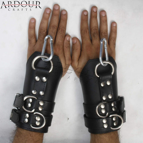 100% Genuine High Quality cow Skin Leather Wrist Arms cuffs bondage restraint with heavy Bukl