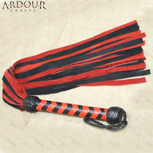 Genuine Cow Hide Suede Leather Red & Black Flogger