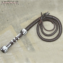 4 Feet Long 08 Plait Genuine Real Leather Bull Whip Heavy Duty Brown Whip