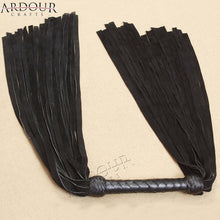 Black Cow Hide suede Leather Double Ended Flogger