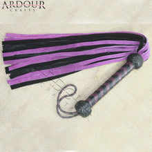 Genuine Cow Hide Suede Leather Purple & Black Flogger