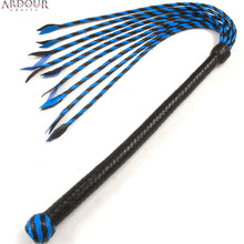 Blue & Black Real / Genuine Leather Braided Flogger Cat O Nine Tails whip Heavy Duty