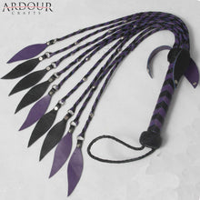 Genuine Real Leather Flogger Steel Studded Purple & Black whip 09 Tails