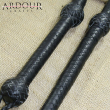 Genuine Real Cow Hide Leather 3 Feet Long 08 Plait Bull Whip Black Bullwhip