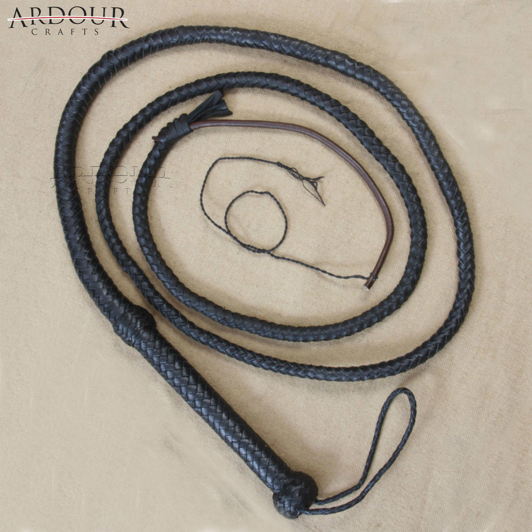 Ardour Crafts Genuine Black Leather 8 Feet Long 8 Plait Weaving Bull Whip