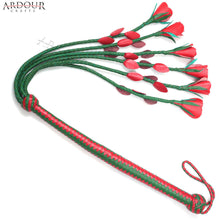 18 Inches Whip and 18 Inches Flogger Tails Genuine and Real Leather Flogger Whip Red Rose