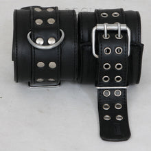 Padded & Soft Real Leather Wrist & Ankle Cuffs Collar 5 Pieces Set Restraints