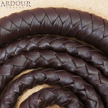 6 feet Long 08 Plait Genuine Real Leather Bull Whip Heavy Duty Dark Brown