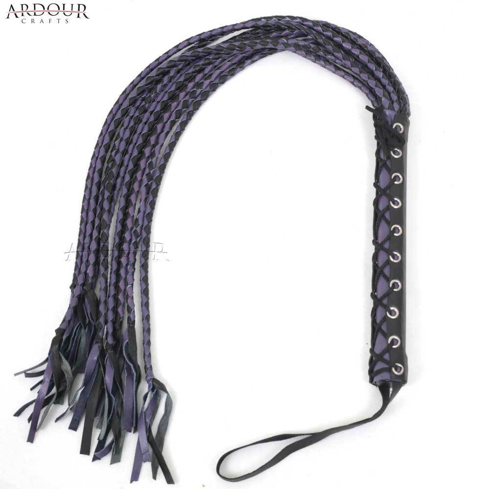 Real Bull Hide Leather Flogger Whip 09 Braided Tails