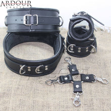 Black Real Leather Thigh & Wrist Cuffs 5 Pieces Set Restraints Hog-tie Fur Line