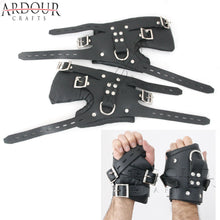 100% Genuine Heavy Leather wrist Suspension Cuffs restraint bondage heavy buckle Thick Padded with D ring