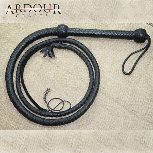 04 Feet Long 12 Plait Genuine Real Leather Bull Whip Heavy Duty Bullwhip Black