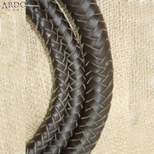 Genuine Real Leather 08 Feet Long 08 Plait Weaving Bull Whip Dark Brown