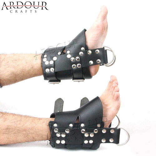 100% Genuine Heavy Leather Ankle Suspension Cuffs restraint bondage heavy buckle