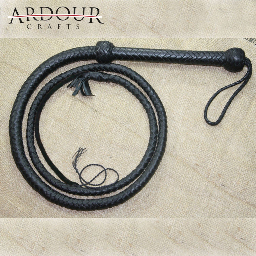 Cow Hide Leather Bull Whip 06 Foot long and 08 Plait Black