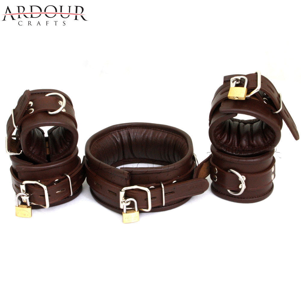 Genuine / Real Leather Padded Wrist, Ankle Cuffs & Neck Collar Set of 5 Pieces Lockable Restraint & Bondage Brown