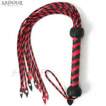 Genuine / Real Leather Red & Black Braided Cat o Nine Tails Flogger Steel Studded Heavy Whip