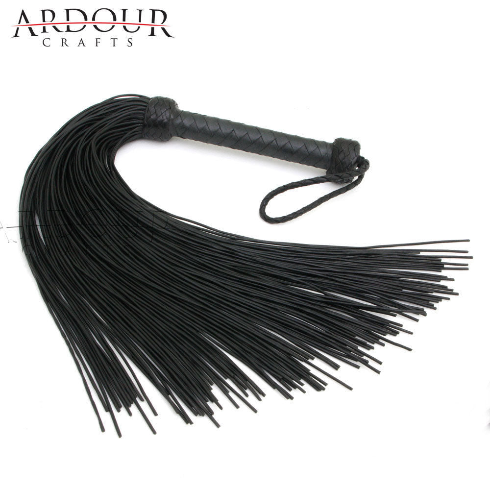 Genuine Black Cow Hide Thick Leather Laces Flogger 100 Tails