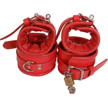 Padded Genuine / Real Leather Wrist Ankle Cuffs 4 Pieces Set Restraints Lockable with Padlock