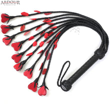 Genuine Cow Hide Leather Flogger 09 Braided Tails with Red Hearts & Red Petals