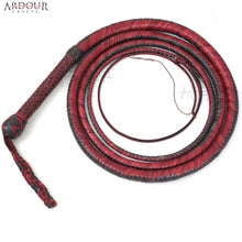 BULL WHIP 06 Feet 12 Plaits Cow Hide Leather CUSTOM BULLWHIP Belly and Bolster Construction Red & Black
