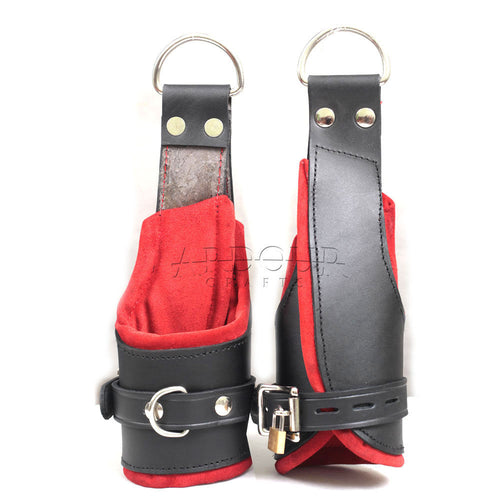 100% Genuine Heavy Leather Padded Wrist Suspension Cuffs Restraint Lockable Revised Design