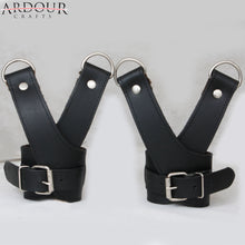 Genuine Heavy Leather Cross Wrist Suspension Cuffs Restraint Double Strap & D