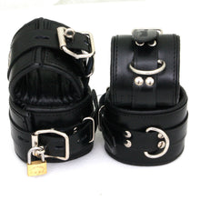 Padded Black Real Leather Wrist Ankle Cuffs 4 Pieces Set Restraints Lockable