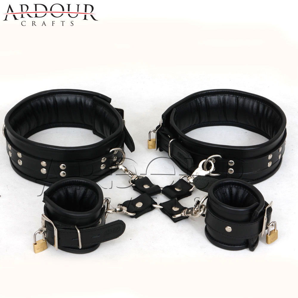 Black Real Leather Thigh & Wrist Padded Cuffs 5 Pieces Set Restraints Hog-tie