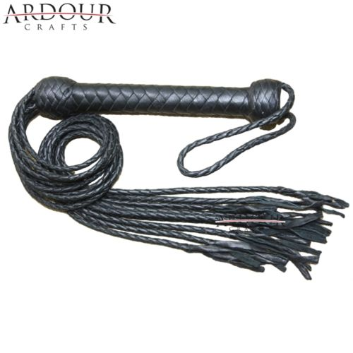 Black Leather Braided Flogger Cat O Nine Tails